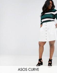 Белая расклешенная джинсовая юбка на пуговицах ASOS CURVE - Белый