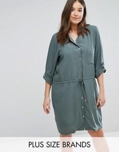 Платье-рубашка в стиле милитари Junarose - Зеленый