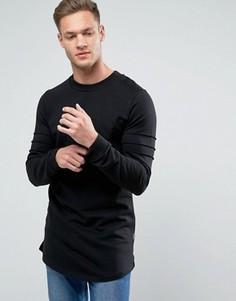 Удлиненный свитшот с асимметричным подолом Jack & Jones - Черный