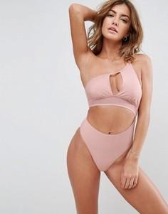 Слитный купальник на одно плечо Somedays Lovin Hibiscus - Розовый