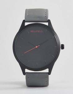 Часы с серым ремешком и черным циферблатом Bellfield - Серый