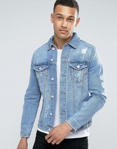 Выбеленная синяя джинсовая куртка с потертостями New Look - Синий