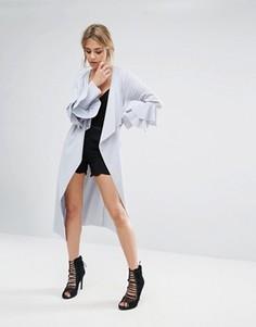 Легкое пальто с оборками на рукавах Boohoo - Синий
