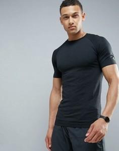 Черная бесшовная футболка New Look SPORT - Черный