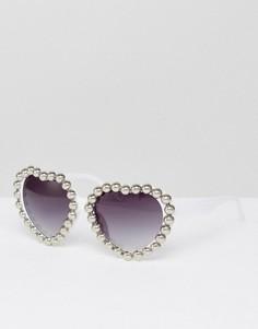 Солнцезащитные очки в оправе сердцем Jeepers Peepers - Серебряный