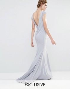 Платье макси с кружевными рукавами и пуговицами сзади Jarlo Wedding - Серый
