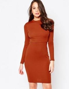Платье с длинными рукавами и верхним слоем AX Paris - Красный