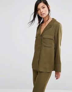 Рубашка в пижамном стиле с карманами в стиле милитари Neon Rose - Зеленый