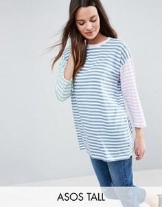 Oversize-футболка в полоску ASOS TALL - Мульти