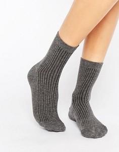 Однотонные носки в рубчик ASOS - Серый