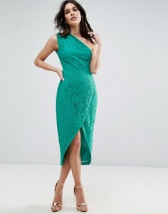 Кружевное платье-футляр миди на одно плечо ASOS - Синий
