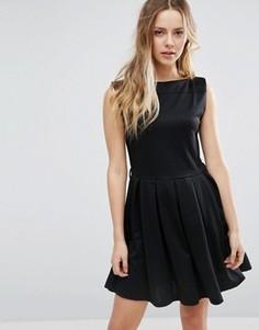 Короткое приталенное платье с юбкой плиссе Jasmine - Черный