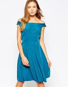 Приталенное платье миди с широким вырезом Love - Синий