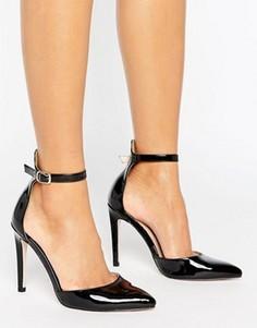 Туфли на каблуке с острым носком и ремешком на щиколотке Little Mistress - Черный