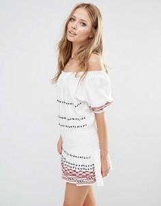 Платье мини цвета экрю с открытыми плечами Piper Butuan - Кремовый