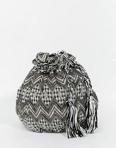Гобеленовая сумка-мешок с кисточками и отделкой Becksondergaard - Черный