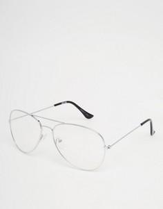 Очки-авиаторы с прозрачными стеклами ASOS - Серебряный