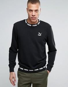 Черный свитшот в рубчик с логотипом Puma - Черный