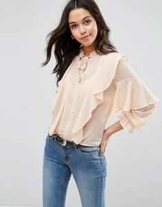 Блузка с оборками и воротом на завязке ASOS Ultimate - Розовый