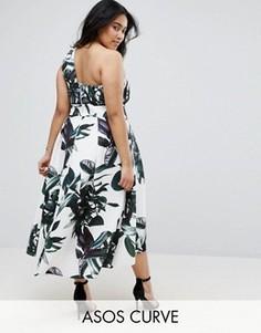 Платье для выпускного на одно плечо с принтом пальмовых листьев ASOS CURVE - Мульти