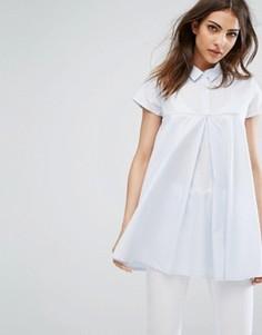 Рубашка со складками Noisy May - Синий