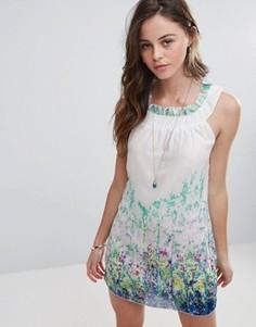 Платье с принтом Pussycat London Garden - Белый