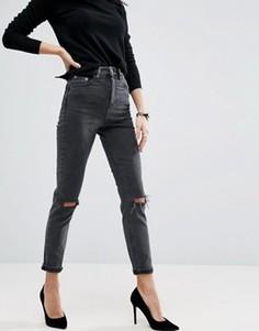 Черные выбеленные джинсы слим в винтажном стиле с завышенной талией и рваными коленями ASOS Farleigh - Черный