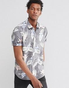 Рубашка с короткими рукавами и цветочным принтом ASOS - Темно-синий