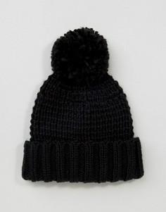 Черная шапка-бини крупной вязки с помпоном ASOS - Черный