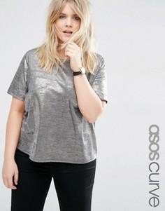 Золотистая футболка металлик ASOS CURVE - Золотой