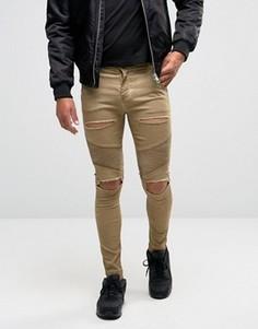Байкерские джинсы скинни с рваной отделкой SikSilk - Stone