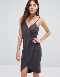 Платье на бретельках с запахом на юбке Wal G - Серый