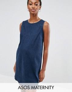 Джинсовое цельнокройное платье цвета индиго ASOS MATERNITY - Синий