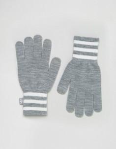 Вязаные перчатки с тремя полосками adidas Originals - Серый
