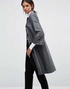 Черно-серебристое фактурное пальто с расклешенными рукавами Helene Berman - Черный