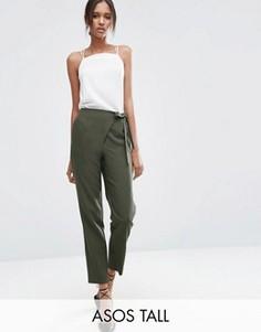 Тканые брюки галифе с запахом и завязкой ASOS TALL - Зеленый