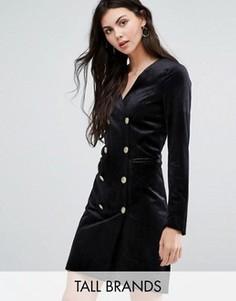 Двубортное бархатное платье Vero Moda Tall - Черный
