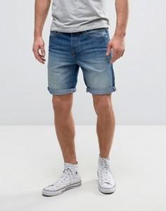 Синие выбеленные джинсовые шорты Solid - Синий