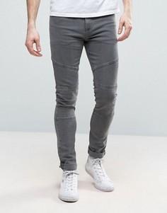 Серые супероблегающие джинсы с отделкой в байкерском стиле ASOS - Серый
