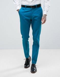 Синие зауженные брюки из эластичного хлопка ASOS WEDDING - Синий