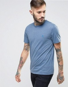 Синяя меланжевая узкая футболка с логотипом Original Penguin - Синий