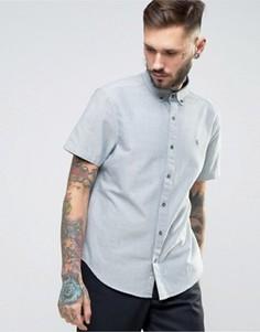 Темно-синяя меланжевая оксфордская рубашка узкого кроя с короткими рукавами Original Penguin - Темно-синий
