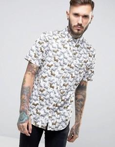Белая узкая рубашка с короткими рукавами и зебрами Original Penguin - Белый