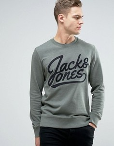 Свитшот с вышитым логотипом Jack & Jones Originals - Зеленый