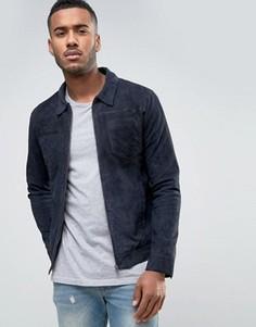 Замшевая куртка с накладными карманами Jack & Jones Vintage - Синий