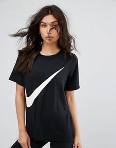 Черная футболка с логотипом-галочкой Nike - Черный
