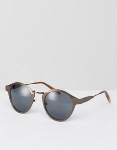 Круглые солнцезащитные очки в матовой оправе медного оттенка ASOS - Коричневый