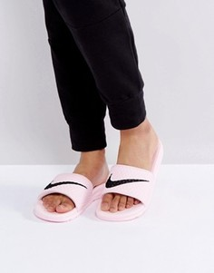 Розовые шлепанцы с логотипом Nike Benassi - Розовый