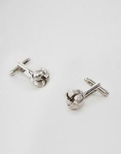 Серебристые запонки с узлом ASOS - Серебряный