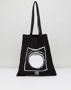 Чернaя сумка-тоут с фотопринтом ASOS - Кремовый
